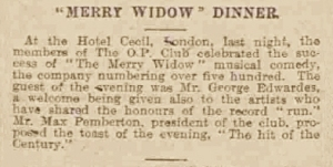 Merry Widow Dinner - Manchester Courier and Lancashire General Advertiser - Monday 01 February 1909