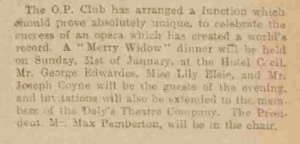 The Merry Widow Dinner - Manchester Courier and Lancashire General Advertiser - Monday 28 December 1909