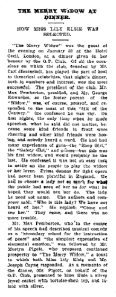 The Merry Widow Dinner - The Auckland Star - Saturday 20th March 1909