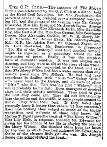 The Merry Widow - The Times - Monday 1st February 1909