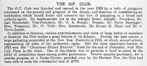 The O.P. Club - The Stage Year Book - 1916