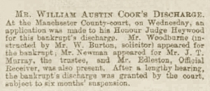 William Austin Cook - Manchester Courier and Lancashire General Advertiser - Saturday 10 October 1891