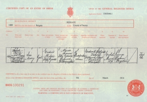 Iris Mary Fitzgerald - Birth Certificate - 3rd March 1890