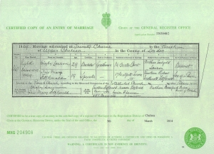Iris Mary Fitzgerald (Lawson) Marriage Certificate - 8th December 1909