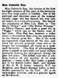 Gabrielle Ray - Engagement - The Citizen - Thursday 11 January 1912