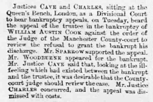 William Austin Cook - Manchester Courier and Lancashire General Advertiser - Saturday 30th May 1891