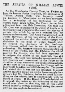 William Austin Cook - Manchester Times - Friday 30th January 1891