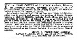 Eric Loder - The Times - Friday 16th October 1908