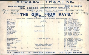 The Girl from Kay's – Programme - 12th September 1903