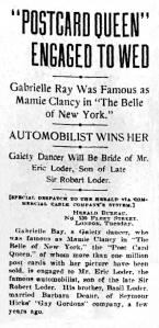 Gabrielle Ray - New York Herald- Wednesday 10th January 1912