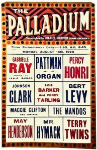 London Palladium, bill for the week beginning Monday, 16 August 1920