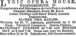 Sinbad the Sailor - The Stage -  14th December 1899