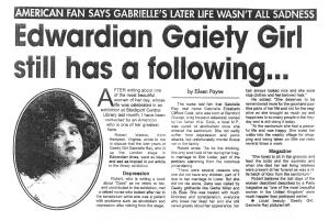 Edwardian Gaiety Girl still has a following  - Stockport Express - 8th September 2004