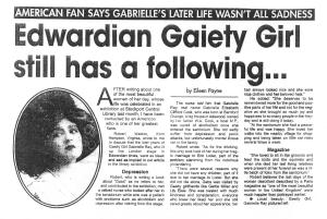 Edwardian Gaiety Girl still has a following  - Stockport Express - 8th September 2004