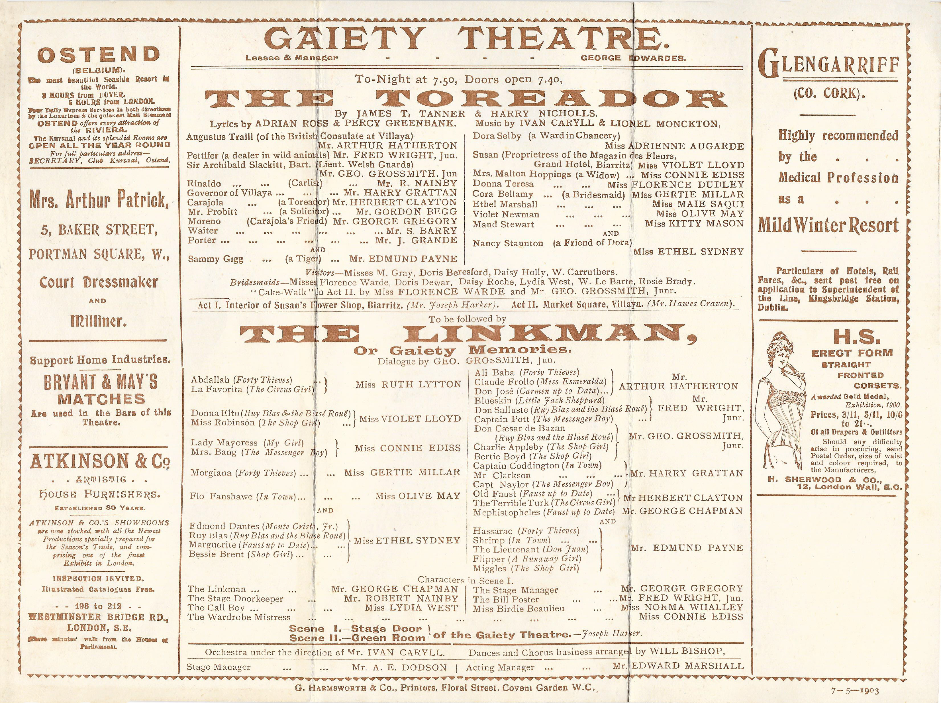 The Toreador – The Linkman – Programme – 7th May 1903 « Gabrielle Ray