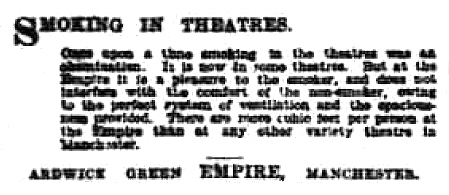 Smoking in theatres - The Manchester Evening News - Wednesday 28th April 1920