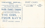 The Girl From Kay's – Theatre Royal, Norwich – April 1910(back)