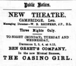 Gabrielle Ray – The Casino Girl – Cambridge Daily News – Monday 2nd December1901