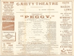 Peggy – Theatre Programme – 28 – 09 -1911 (cast)